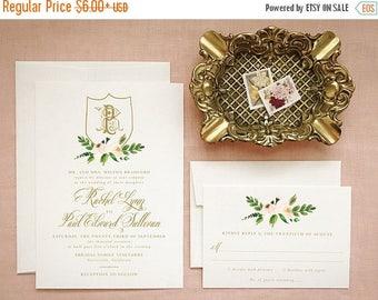 Custom Monogram Wedding Invitations in Blush Pink and Gold