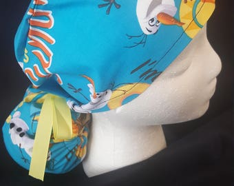 Disney's Frozen Olaf the Snowman Celebrate Summer Ponytail Ribbon Tie Back Surgical Scrub Hat