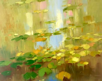 Waterlilies, oil Painting, Original hand made artwork, Impressionism, One of a kind