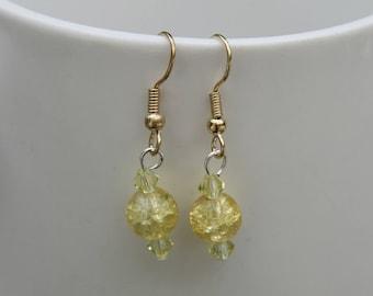 yellow crystal beaded earrings