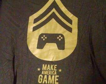 Shirts - Make America Game Again - Black and Olive Drab - Adult M