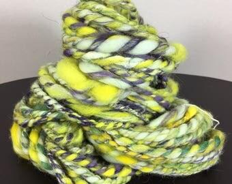 Art Yarn, Yarn, Bulky, Wool, Knitting, Crochet, Weaving, Merino, Handspun, Hand Spun, Luxury Fiber, Fibre, Yellow Yarn