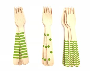 Set of 12, wooden Party forks, polka dot, chevron, Stripes, citrus green, birthday decoration, party decorations, baby shower, party supply