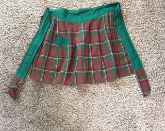 Vintage Red & Green Plaid Half Apron
