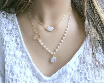 moonstone necklace rainbow moonstone Jewelry moonstone r14k gold filled rosary chain moonstone pendant eternity ring June Birthstone boho