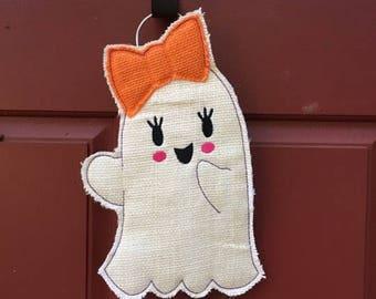 Girl Ghost - Halloween -  Door Hanger - Feltie Design - 8 x 12 and 14 x 8 ONLY - DIGITAL Embroidery DESIGN