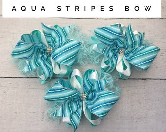 Aqua Stripes bow