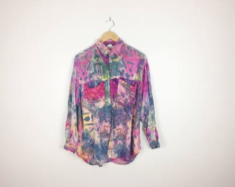Colourful Batik 90s Vintage Long Sleeve Rayon Button Up Shirt Java Bazaar Rainbow Tie Dye Festival Clothing Grunge Top Unisex Big Pockets