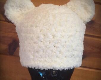 basic eared beanie -- chenille-ish yarn