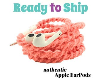 RTS Wrapped Headphones for iPhone, Handmade iPhone Headphones, Design Earbuds, Custom Headphones, iPhone EarPods Tangle Free Earbuds in CORA