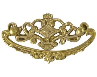 Brass Crown Cabinet Hardware Replica Dresser Pull Solid Brass Oak Vintage Style