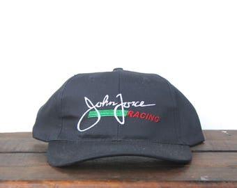 Vintage 90's John Force Racing NHRA Drag Race Castrol Motor Oil Strapback Hat Baseball Cap