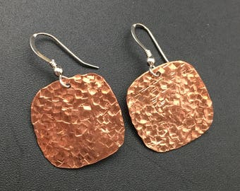 Hammered Copper Earrings, Sterling Silver Earrings, Square Earrings, Earrings under 50, Angel Wear Designs