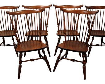 Set of 6  Nichols & Stone Cherry Fan Back Windsor Side/Dining Chairs