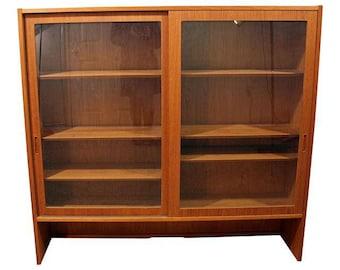 Mid-Century Bookcase Danish Modern Teak Display Cabinet Hutch Top