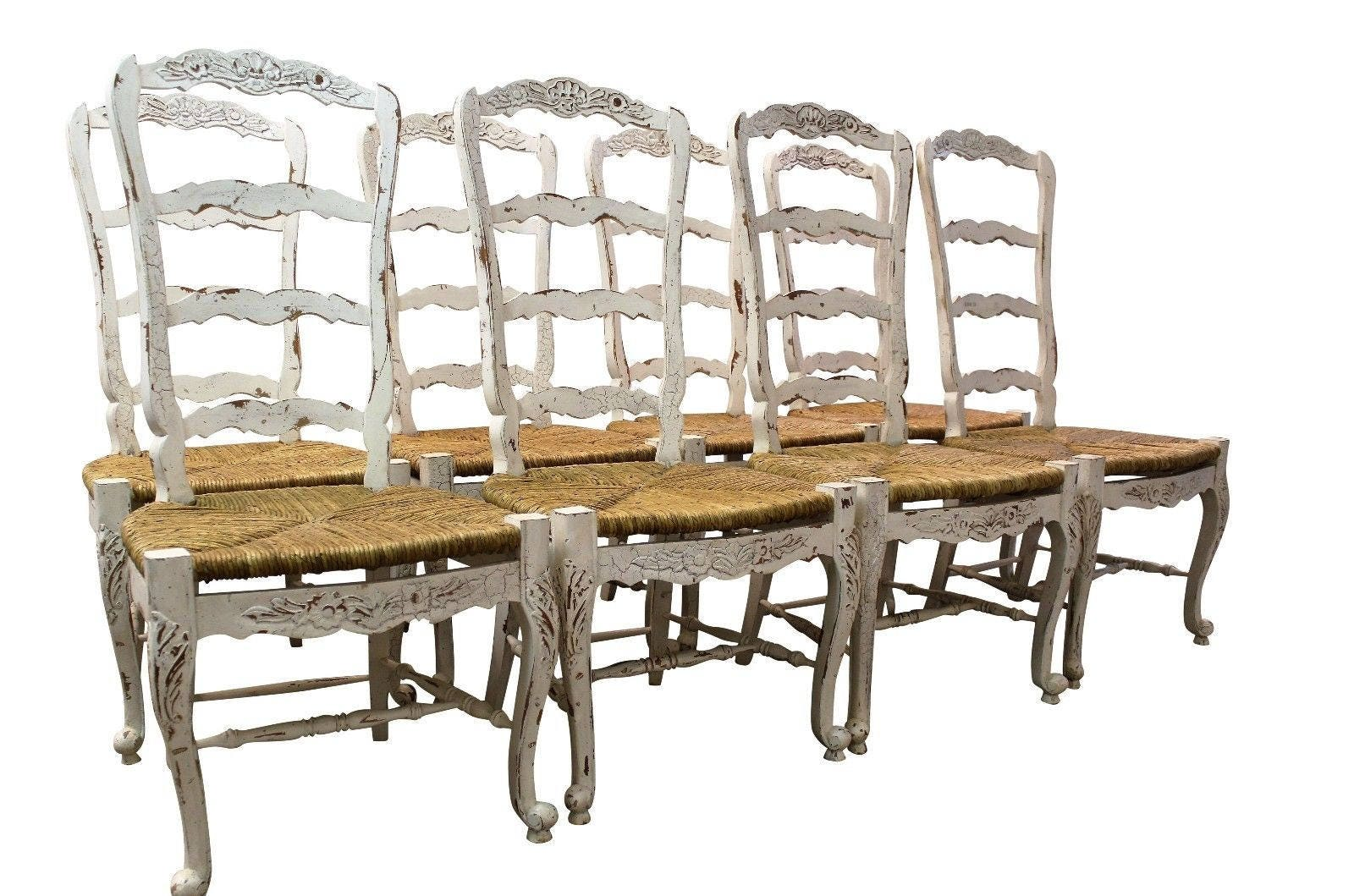 Set Of 8 French Country Ladder Back Dining Chairs