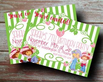 60% OFF SALE Strawberry Shortcake Custom Birthday Party Invitation Digital File