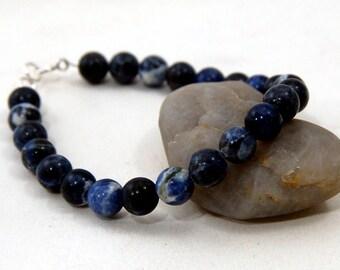 Sodalite Bracelet with Sterling Silver. Mens Sodalite Bracelet. Unisex Sodalite Beads Bracelet. Mens Beads Bracelet. Unisex Beads Bracelet