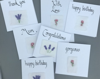 Thank You - Embroidered Lavender Card
