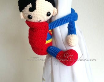 1 Superman Crochet curtain tie back,  Handmade Superman curtain tie back. Nursery tie backs.  MADE TO ORDER***