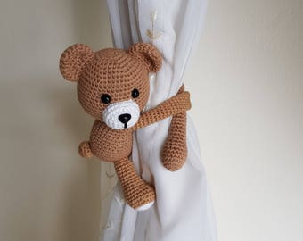 1 Teddy Bear Crochet curtain tie back,  Handmade bear curtain tie back. Nursery tie backs.  MADE TO ORDER***