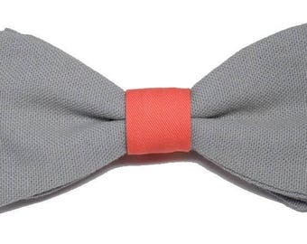 Bow tie gray Putty and coral with straight edges