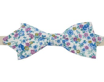 Bow tie floral Ultramarine and purple with sharp edges