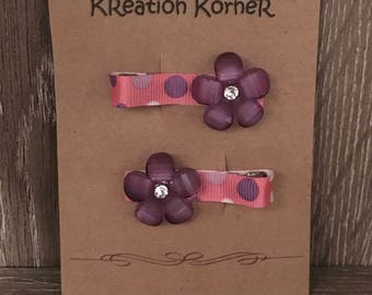 Set of 2 pink and purple flower hair clips