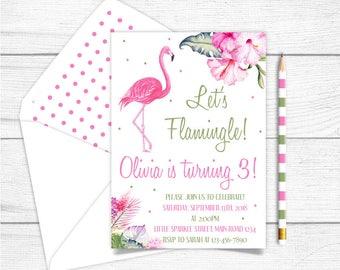 Any Age Printable Flamingo Birthday Invitation, Let's Flamingle Birthday Invitation, Girls Hibiscus Tropical Birthday Invitation