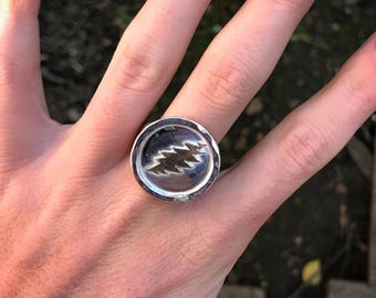 Grateful Dead silver and bronze ring / handmade jewelry