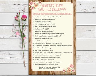 Bridal Shower Game, What did he say about his Bride, Wood Background, Peach Flowers, Coral Flowers, Instant Download, Couples, Wood, Coral