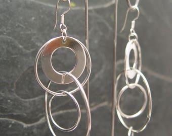 CIRCLE SHAPE DANGLES Sterling Silver Earrings Multiple Hoop in Hoops Design Long
