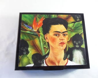 Recycled Cigar Box with Frida Kahlo and Monkeys