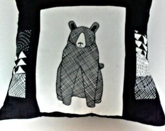 modern bear pillow, pocket pillow, remote holder, holder for tablets,needlework