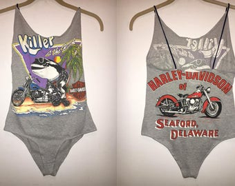 Motorcycle Whale Vintage Re-worked Bodysuit