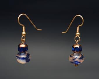 Blue and Goldstone Lampwork Bead Earrings