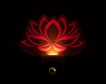 Pink Lotus Flower Night Light - Pink Lotus LED Nightlight - Lotus Charm Night Light - Sacred Lotus Nightlight - Bean of India - India Lotus