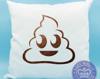 Bronze Glitter Poop Emoji Pillow - Brown Glitter Poo Emoji Pillow - Pile of Poo Emoji Pillow - Poop Emoji Cushion - Poop Pillow Cover 16x16
