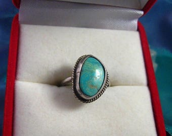 ON SALE Ring Vintage Sterling Mod Shaped Southwest Blue Cerillos Turquoise Stone Ring Sz 5.25 #756