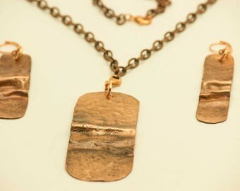 Copper Necklace and Earring Set Handmade