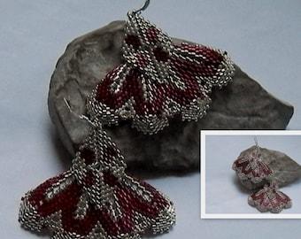 Burgundy and silver weave earrings