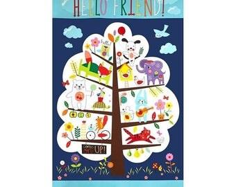 "Summer Sale- Hello Friends Panel 24"" x 44""~Children's Cotton Fabric by~Moda~Fast Shipping CH291"