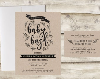 Baby Bash Shower Invitation with Insert Card, Bring a Book Instead of a Card, Baby Shower Invitation, Couples Baby Shower Invitation
