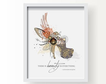 Beauty Is Timeless - Alexander McQueen Fashion Illustration Print, Fine Art, Wall Art Print, Poster Illustration, Art for Home, Office