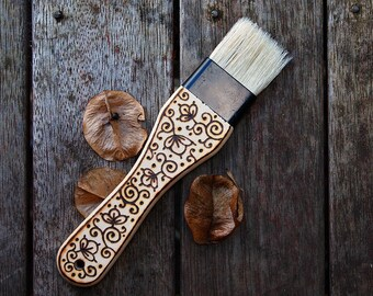 Wood-burned pastry brush with flowers and vines
