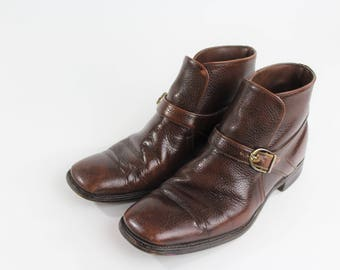 1970/80s Brown Leather Buckle Ankle Boots