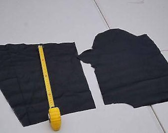 Black Cowhide 2 Craft panels/pieces Corrected leather 40 x 25 cm