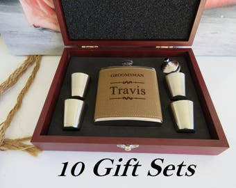 10 Groomsman Flask Gift Set