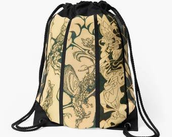 Drawstring Shoulder Bag - Backpack w/Bold Solar Etched Design ~ 'Quadriptych' / Sophisticated, Classy, Unique — Solar Art ~ Solar Pyrography