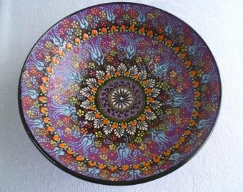 """Purple Ceramic  Bowl, 10"""" Bowl, Turkish ceramic, Serving Bowl, lavender purple bowl, fruit bowl, display bowl, wedding gift"""